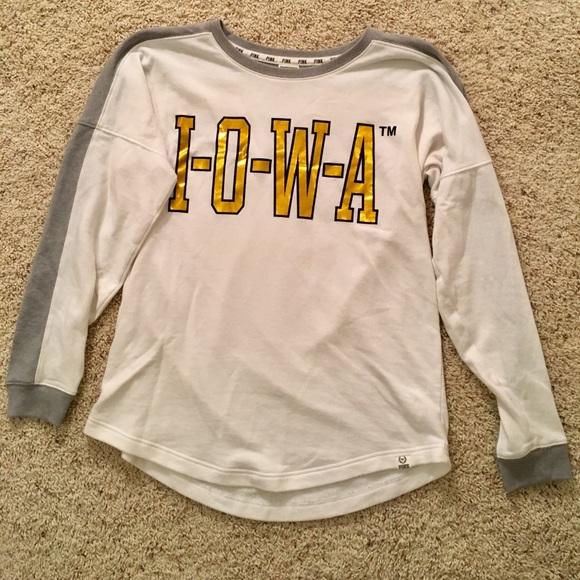 f73545a77591d PINK University of Iowa Crew Long Sleeve Shirt